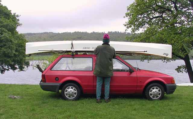 car topping a sailing canoe
